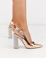 Asos Design DESIGN Penley embellished slingback high block heels in rose gold $70 at ASOS