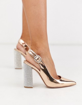ASOS DESIGN Penley embellished slingback high block heels in rose gold
