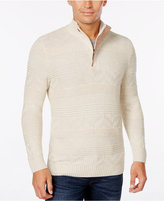 Tasso Elba Men's Big and Tall Quarter Zip Mixed Stitch Sweater, Only at Macy's