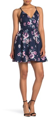Love, Nickie Lew Floral Print Lace Back Skater Dress