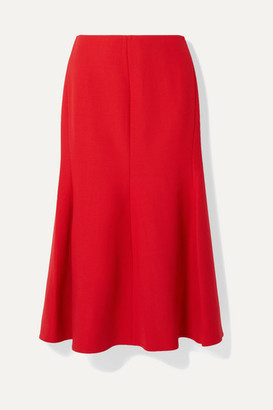 Victoria Beckham Fluted Crepe Midi Skirt - Tomato red