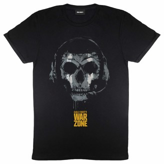 Popgear Call of Duty Warzone Skull Headset Women's Boyfriend Fit T-Shirt Black L | Gamer X-Box PS4 PS5 Switch Loose Baggy Oversized Top Birthday Gift Idea for Ladies