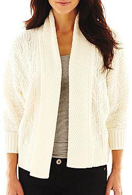 Liz Claiborne Textured Cable Cardigan Sweater