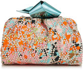 Jimmy Choo CARA/S Orange and Camellia Flower Print Satin Clutch Bag with Crystal Embroidery