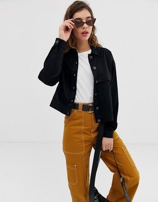 Noisy May lightweight utility jacket in black