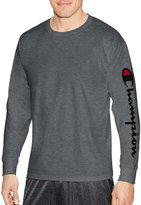 Champion Mens Classic Jersey Long Sleeve Graphic Tee, XXL, Charcoal Heather Arm