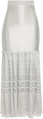 Alexander McQueen Ruffled Metallic Crochet-knit Midi Skirt