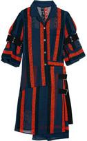 Sacai Macramé Lace-paneled Cotton-blend Chiffon Dress - Navy