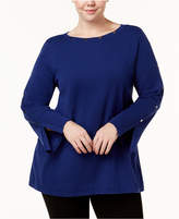 Alfani Plus Size Studded Split-Cuff Sweater, Created for Macy's