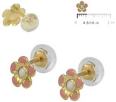 Ice 14K Gold Pink Flower Silicone Back Baby & Toddler Girls' Stud Earrings