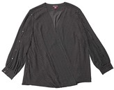 Vince Camuto Specialty Size Plus Size Long Sleeve Textured Fragments Wrap Front Blouse (Rich Black) Women's Clothing