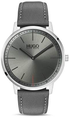 HUGO #EXIST Gray Leather Watch, 40mm