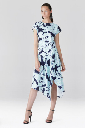 Natori Shibori Floral - Fluid Crepe Draped Dress