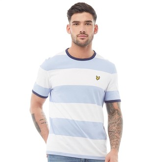 Lyle And Scott Vintage Mens Wide Stripe Ringer T-Shirt Blue Smoke