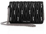 Miu Miu Matelasse Leather & Crystal Chain Wallet