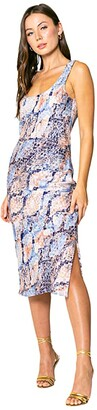 Lavender Brown Blue Snake Printed Bias Midi Dress with Side Slit and Tie At the Back (Blue/Taupe) Women's Clothing