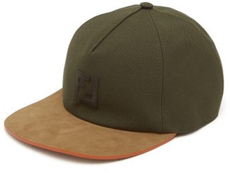 Fendi Ff-embroidered Suede And Canvas Baseball Cap - Mens - Dark Green Multi