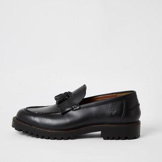 River Island Black leather tassel fringe chunky loafers
