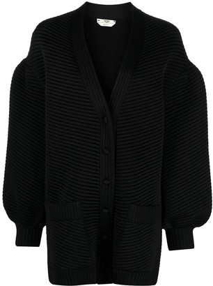 Fendi Ribbed Long-Sleeve Cardigan