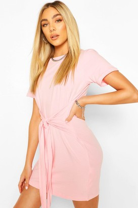 boohoo Tie Waist T-Shirt Dress