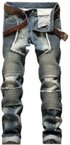 West Bank Westbank Men's Fashion Slim Fit Stretch Distressed Ripped Biker Jeans