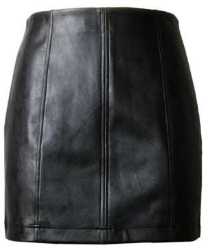 Tinseltown Juniors' Faux-Leather Mini Skirt