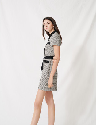 Maje Belted tweed-style dress