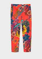 Paul Smith Women's Red 'Ocean' Print Stretch-Cotton Pants