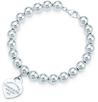 Tiffany & Co. Return to TiffanyTM small heart tag in sterling silver on a bead bracelet - Size 7 in