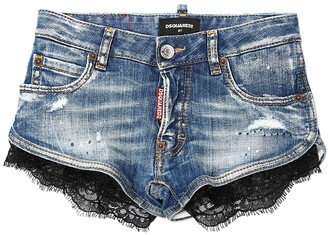 DSQUARED2 Destroyed & Painted Stretch Denim Shorts