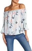 Blvd Floral Off-the-Shoulder Bell Sleeve Blouse