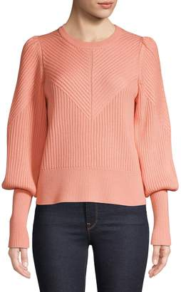 Joie Ribbed Puff-Sleeve Sweater