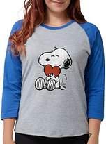 CafePress Snoopy On Heart Long Sleeve T-Shirt - Womens Baseball Tee