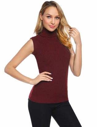 Abollria Womens Turtle Neck Sleeveless Chunky Knit Ribbed Knitwear Sweater Jumper Vest Black