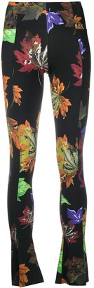 Off-White Floral-Print Flared Leggings