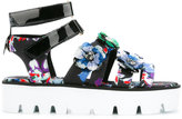 MSGM floral platform sandals - women - Cotton/PVC/rubber - 36