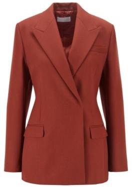HUGO BOSS Regular Fit Jacket In Italian Virgin Wool - Brown