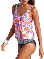 Blugibedramsh Womens Printed Tankini Swimwear Two Piece Swimsuit Set Bathing Suit ( L )