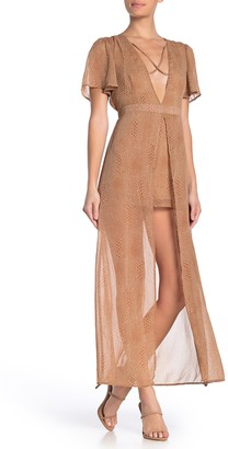 Material Girl Flutter Sleeve Plunge Walk-Thru Jumpsuit