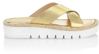 Stuart Weitzman Roza Lift Metallic Leather Platform Slide Sandals