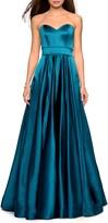 La Femme Strapless Satin Evening Dress