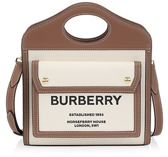 Burberry Mini Pocket Leather-Trimmed Canvas Tote