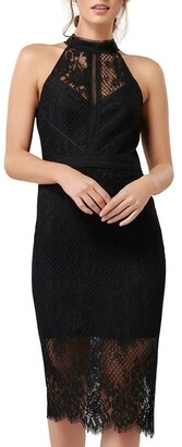 Forever New Lena High Neck Lace Bodcyon Dress