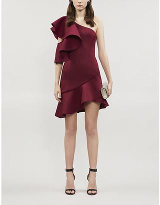 Lavish Alice Asymmetric ruffled neoprene mini dress