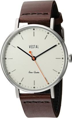 Vestal Sophisticate Leather Stainless Steel Swiss-Quartz Watch Strap