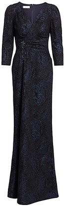 Teri Jon by Rickie Freeman Embellished Jacquard Puff-Sleeve Gown