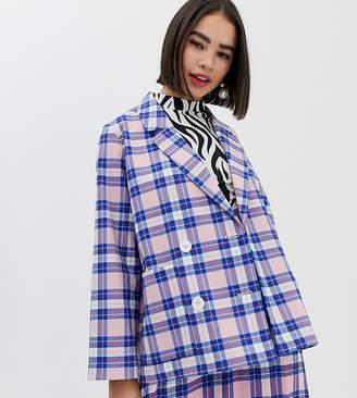 Monki oversized blazer with tartan print in pink