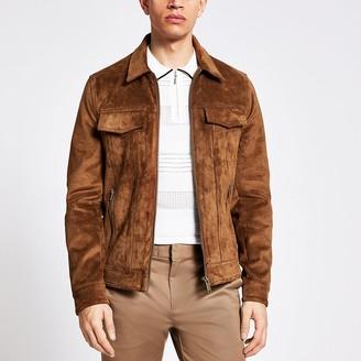 River Island Brown suedette zip Western jacket