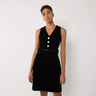 Warehouse VELVET PINAFORE MINI DRESS
