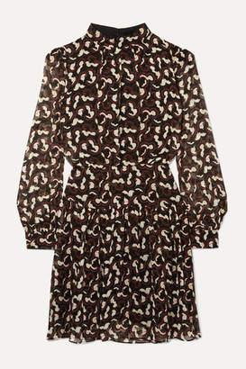 Saloni Isabel B Printed Silk-georgette Mini Dress - Black
